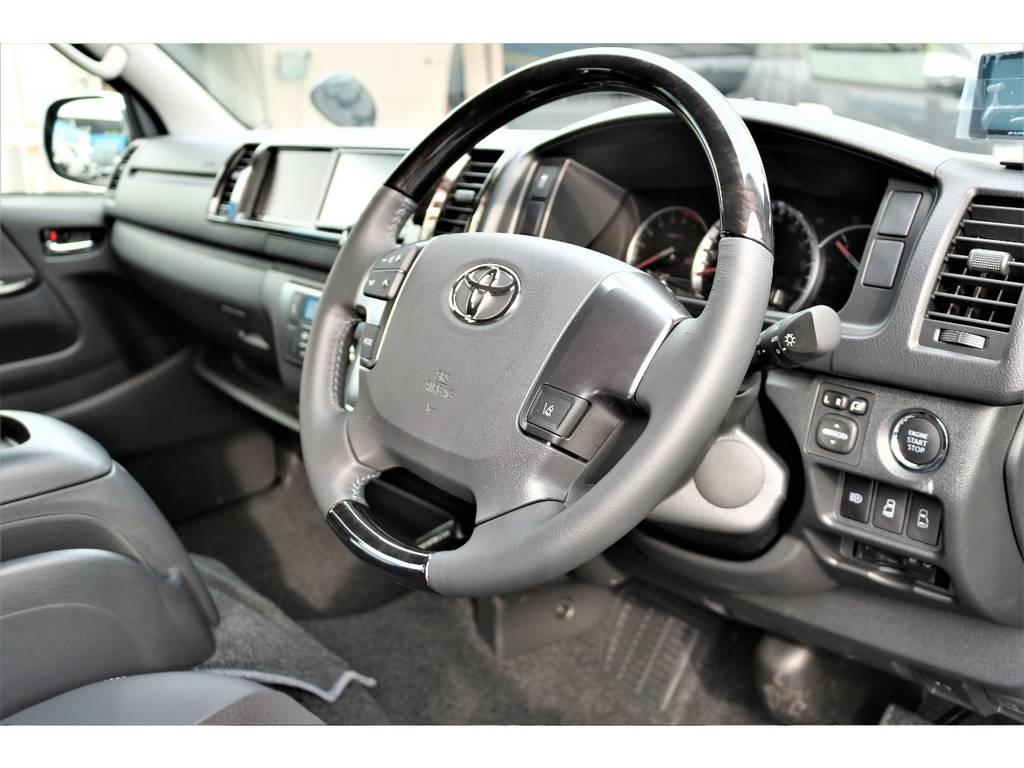 ダークプライム専用のコンビステアリングです! | トヨタ ハイエースバン 2.7 スーパーGL ダークプライム ワイド ミドルルーフ ロングボディ 4WD