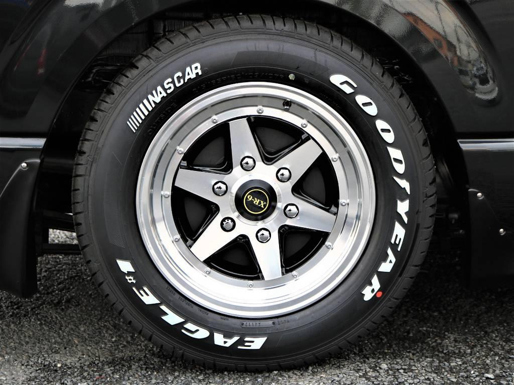 足元は人気のアルミホイールXR-6&ナスカータイヤ!通称ロンシャンです! | トヨタ ハイエースバン 2.0 スーパーGL ロング ネオクラシックパッケージ