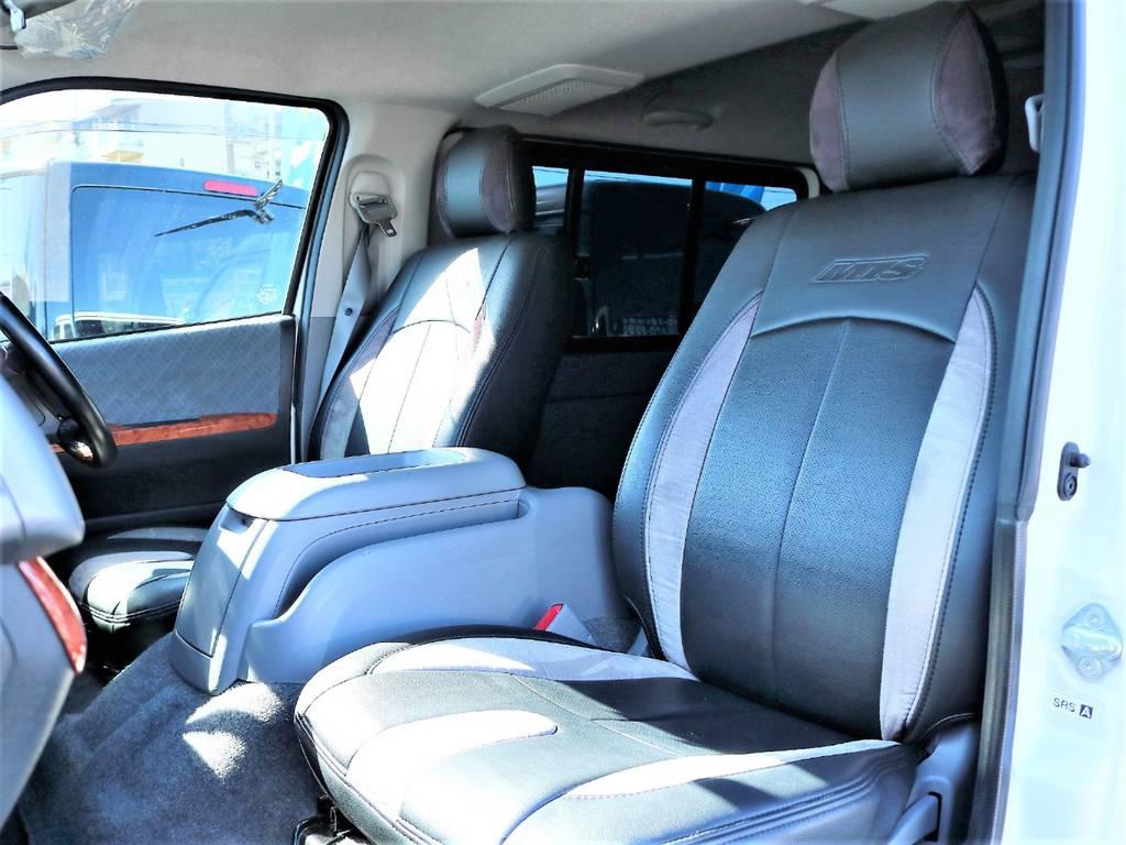 Mテクノ製のコンビシートカバーが装着されておりますので、インテリアに高級感がプラスされています! | トヨタ ハイエースバン 2.0 スーパーGL ロング 2型 低走行!
