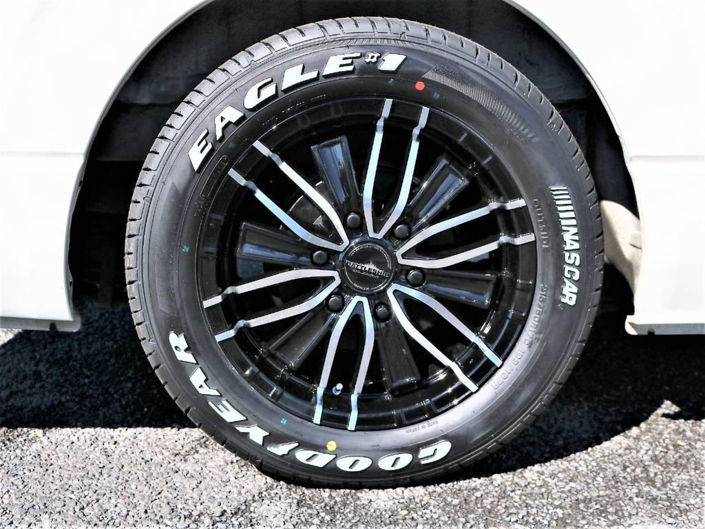 新作アルミホイールのバトルシップIII&ナスカータイヤセットです! | トヨタ ハイエースバン 2.0 スーパーGL ロング 2型 低走行!