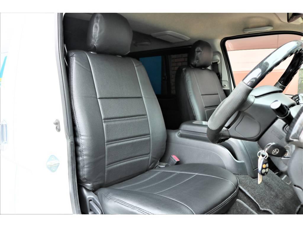 新品黒革調シートカバーをインストール! | トヨタ ハイエースバン 2.0 スーパーGL ロング ワンオーナー下取直販