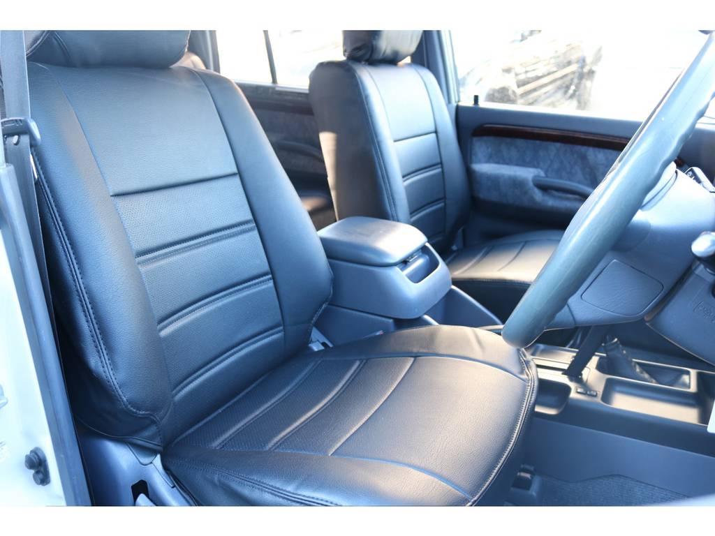シンプルなブラックの新品のシートカバーが入っており高級感が増しております! | トヨタ ランドクルーザープラド 2.7 TX リミテッド 4WD 丸目換装 クラシックコンプリート