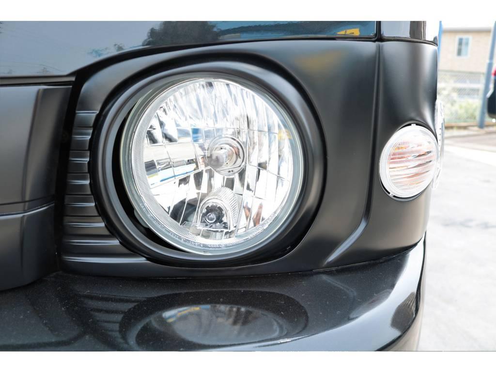 丸目キット施工、フロントグリルもマッドブラックに塗装☆ | トヨタ ハイエースバン 2.7 スーパーGL ワイド ロング ミドルルーフ 丸目換装☆ワイドボディ