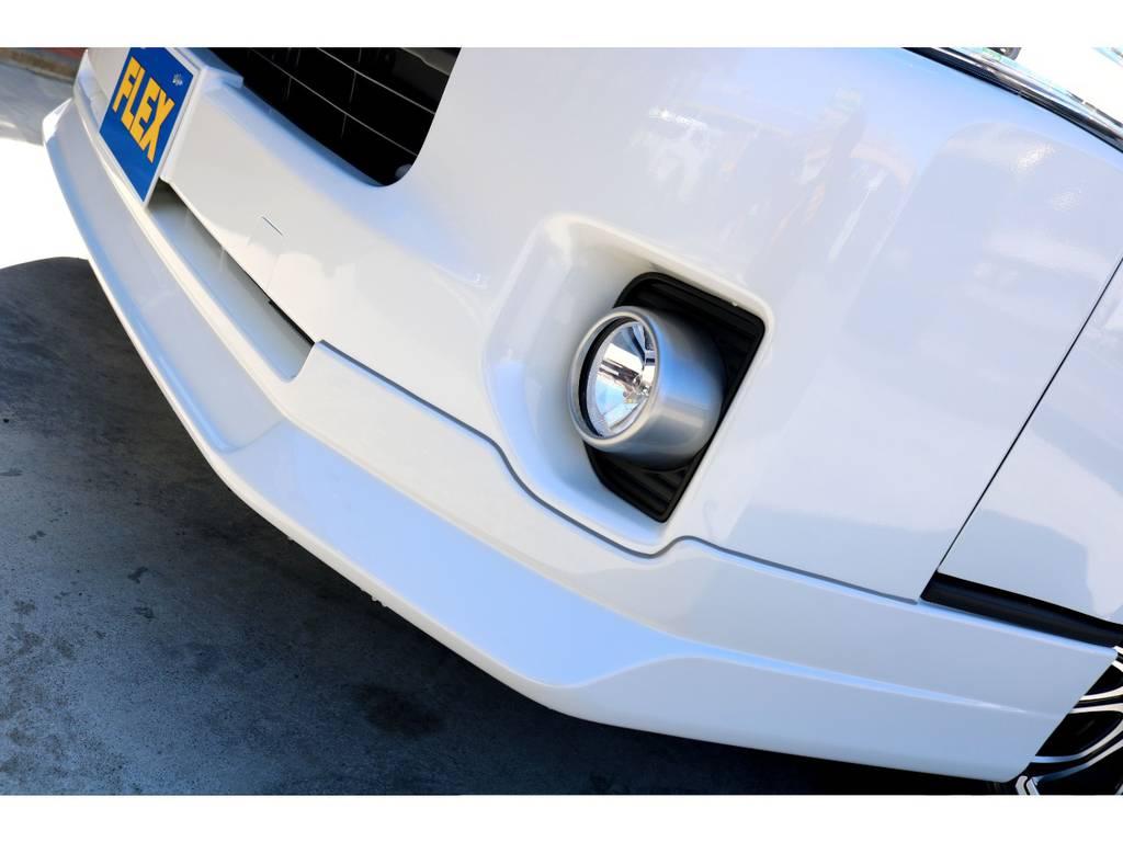 FLEXオリジナル Delfino Lineフロントスポイラー!! | トヨタ ハイエースバン 2.7 スーパーGL 50THアニバーサリー リミテッド ワイド ミドルルーフ ロングボディ4WD ベッドキットPKG