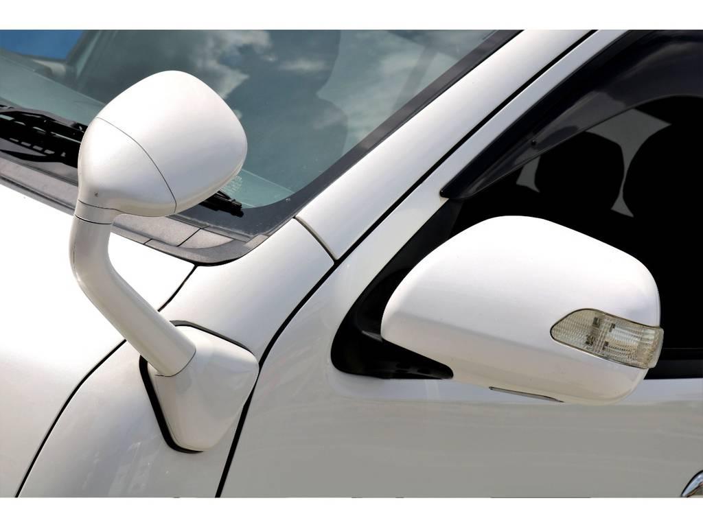 ガッツミラー同色ペイントが施工済みです!社外ウィンカーミラーを装着で、夜間もお洒落です♪後に施工すると、効果なオプションですので、お得ですね♪ | トヨタ ハイエースバン 3.0 スーパーGL ワイド ロング ミドルルーフ ディーゼルターボ