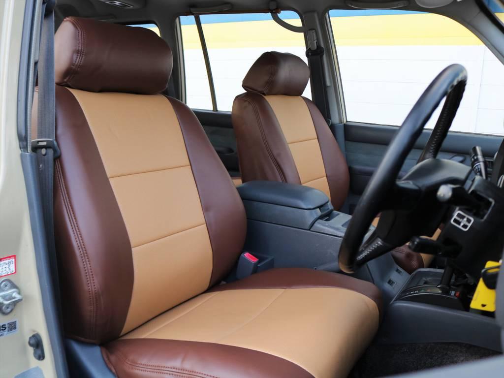 フロントシートにはオリジナルキャメルシートカバー装着済み!!コンディションも良好で、旧車にありがちな不潔な雰囲気はございません。 | トヨタ ランドクルーザー80 4.5 VXリミテッド 4WD FLEX Renoca