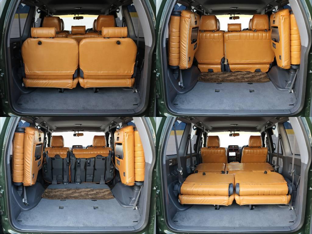 後席を格納することにより荷室の拡充が容易に行えます!長尺物の積載も可能です(^^♪