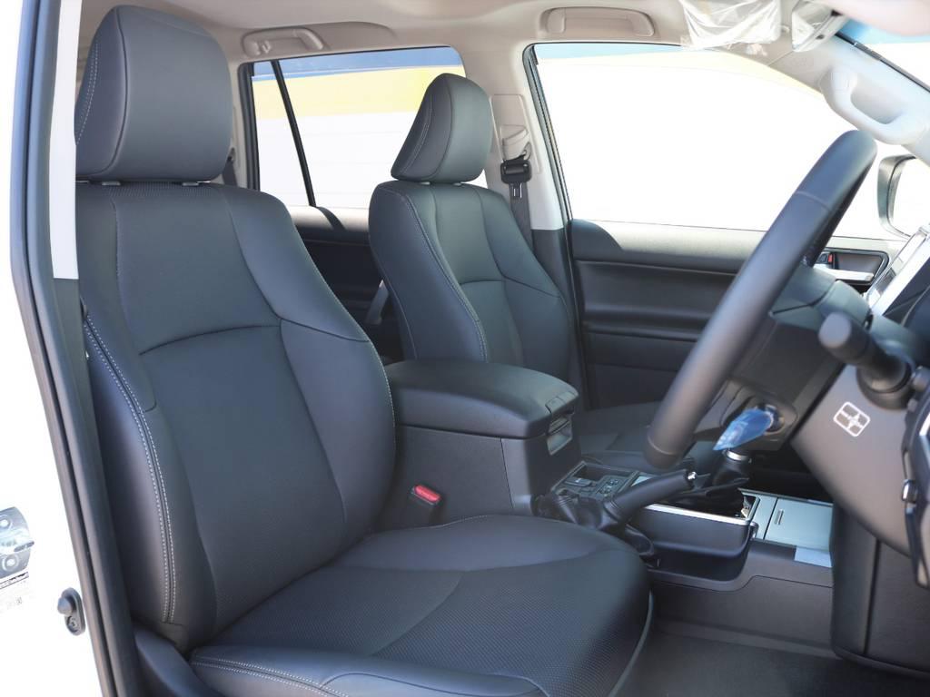 上級グレードLパッケージならではの装備、本革シートを備えます!パワーシートはもちろん、シートヒーター&ベンチレーション付き♪ | トヨタ ランドクルーザープラド 2.7 TX Lパッケージ 4WD 5人乗り 本革内装サンルーフ付き