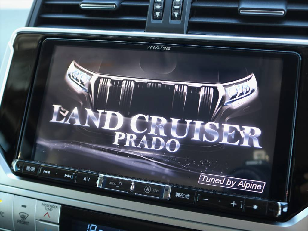LAND CRUISER PRADO専用設計のALPINEビッグX9インチ大画面ナビを新品装着しました(^^♪ バックカメラ&ETCももちろん完備!! | トヨタ ランドクルーザープラド 2.7 TX Lパッケージ 4WD 5人乗り 本革内装サンルーフ付き