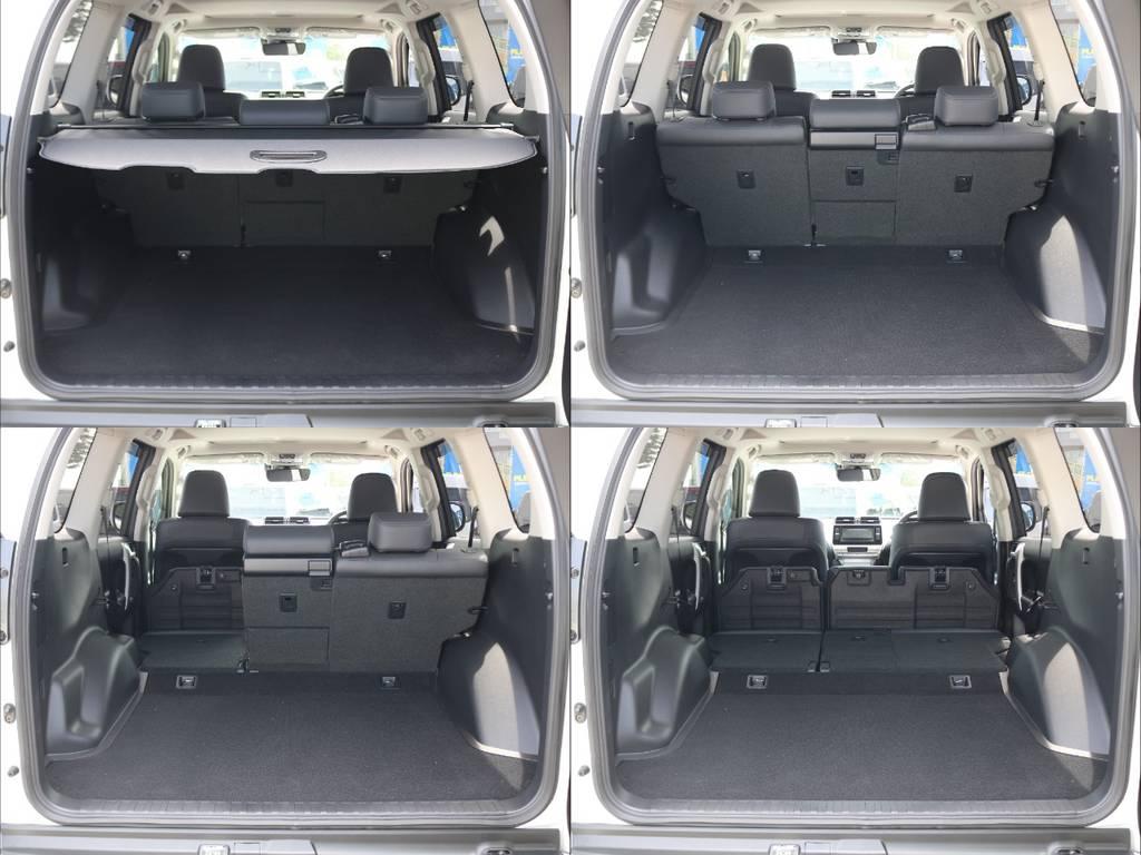 5人乗りの車両は何といってもその荷室の広さがうれしいポイント★分割可倒式の後席を上手に活用すればさらに荷室の拡充も容易です♪ | トヨタ ランドクルーザープラド 2.7 TX Lパッケージ 4WD 5人乗り 本革内装サンルーフ付き