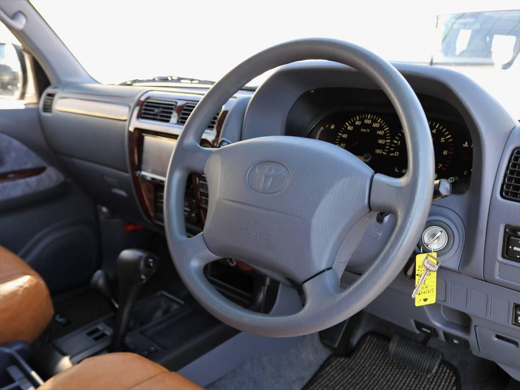 新品ウッドステアリングへの交換も承っております! | トヨタ ランドクルーザープラド 2.7 TX リミテッド 4WD