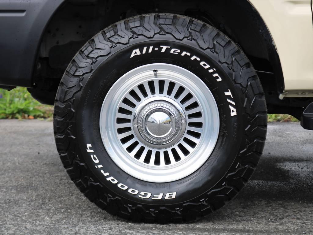 オールテレーンタイヤを履かせました。オールシーズンタイヤなのでタイヤ交換の必要がないです!