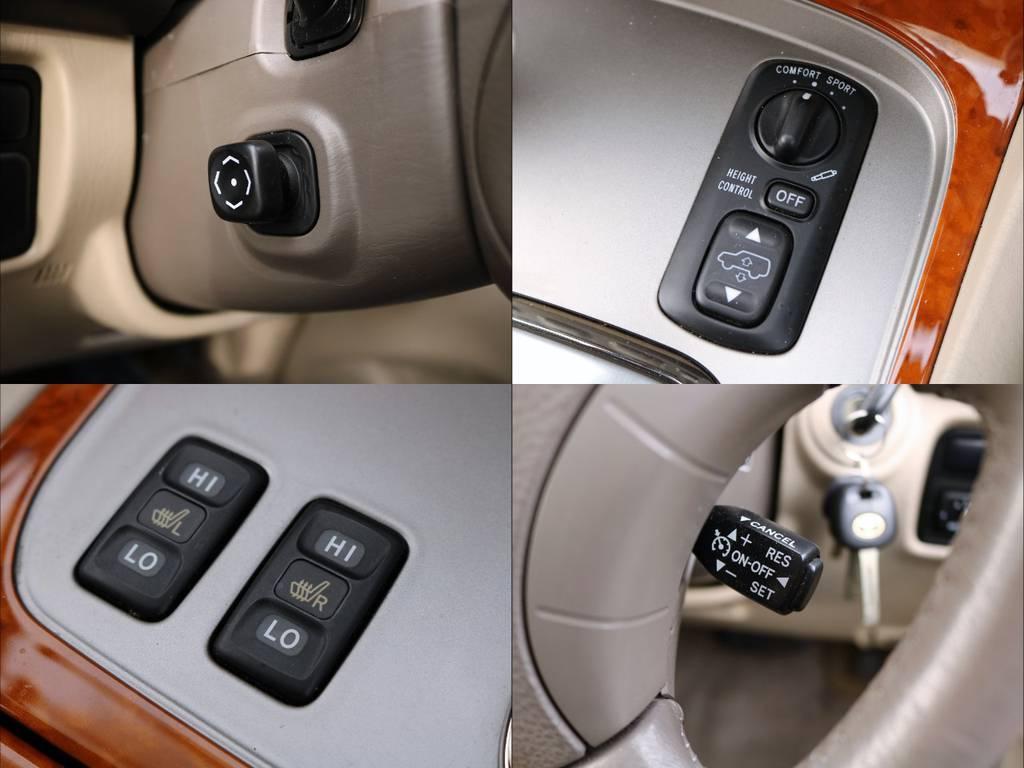 左上≫電動調整ステアリングコラム/右上≫車高や乗り心地の調整ができるAHC(油圧式電子制御サスペンション)/左下≫運転席&助手席シートヒーター/右下≫オートクルーズコントロールなど上級装備多数!! | トヨタ ランドクルーザー100 4.7 VXリミテッド Gセレクション 4WD 走行39千km RENOCA106