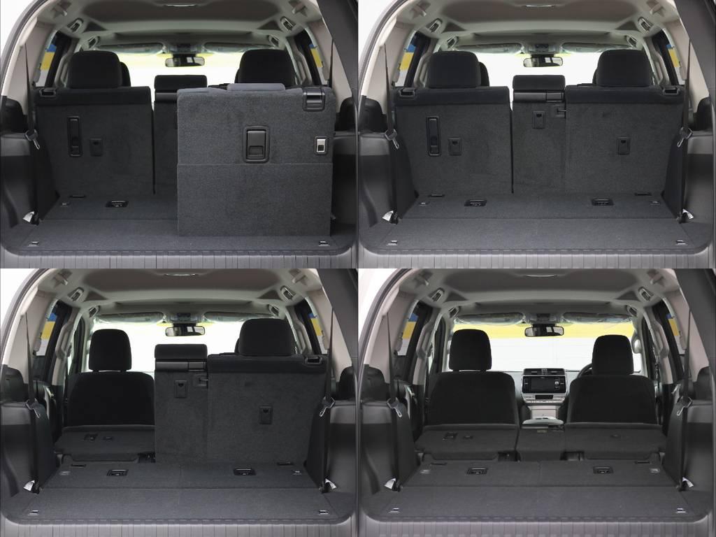後席の格納が容易で、荷室の拡充など使い勝手も良いです◎色々な使い道が思い浮かびますね! | トヨタ ランドクルーザープラド 2.8 TX ディーゼルターボ 4WD 7人
