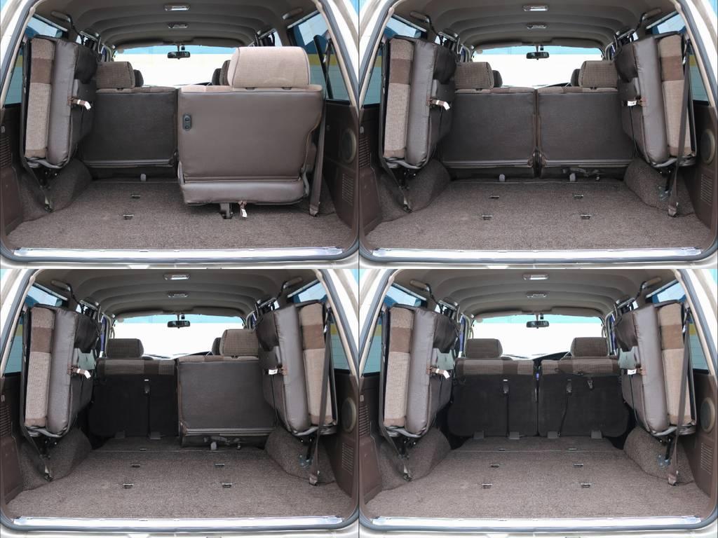2列目および3列目席の格納手順は上級グレード同様シンプルかつ容易で、荷室拡充にも苦労しません! | トヨタ ランドクルーザー80 4.5 GX 4WD 観音リアドア