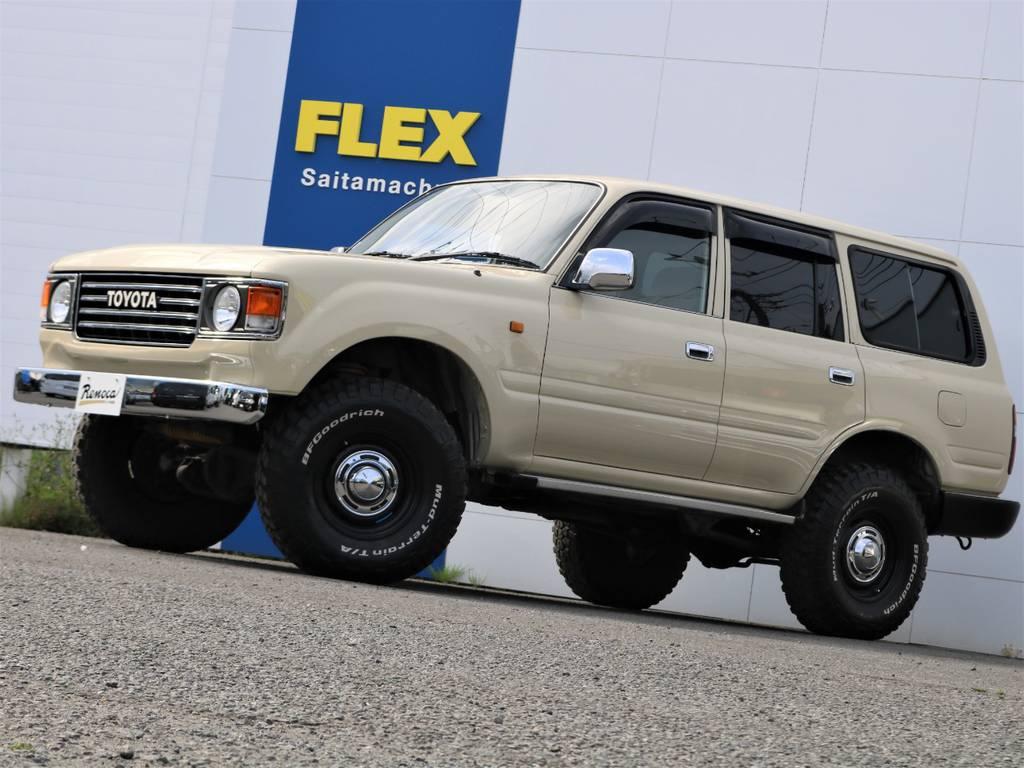 当店の車両は、全部位(消耗品と内外装パーツを除く)期間・走行距離無制限の安心保証付き★遠方のお客様へは、ご自宅のお近くの認証整備工場を保証整備先としてご紹介させて頂きます(^^)/ | トヨタ ランドクルーザー80 4.5 GX 4WD 観音リアドア