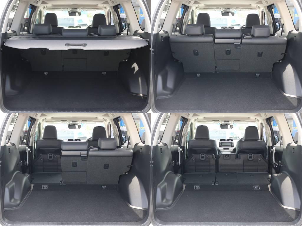 5人乗りの車両は何といってもその荷室の広さがうれしいポイント★分割可倒式の後席を上手に活用すればさらに荷室の拡充も容易です♪