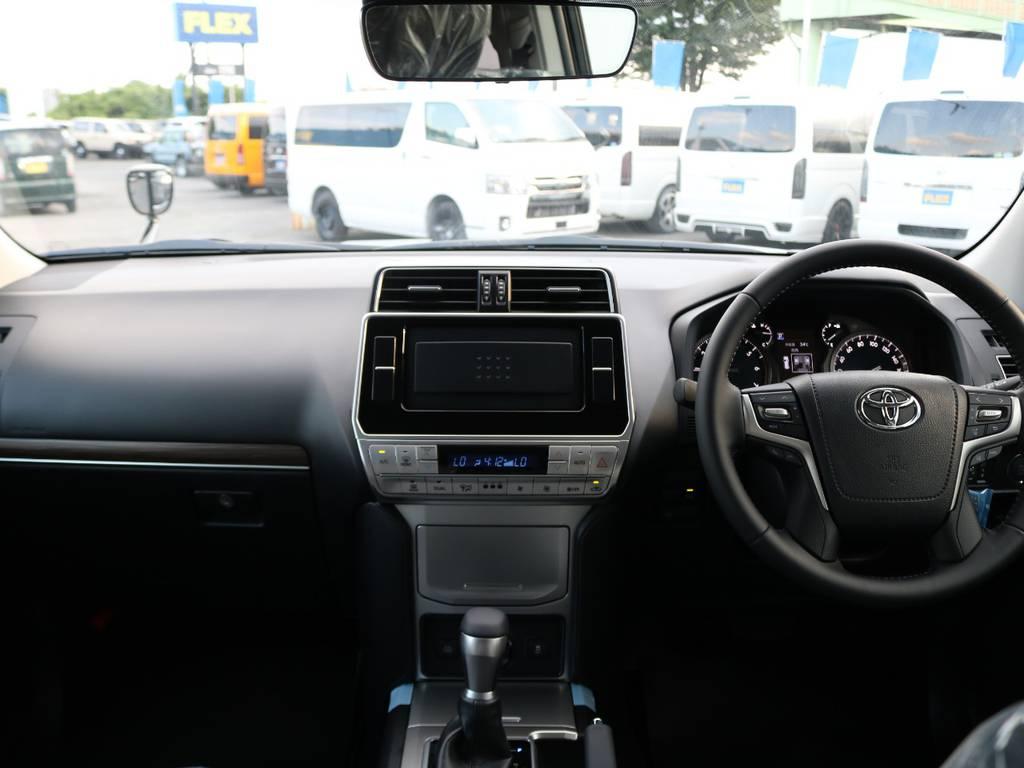 当店の新車プラドは全車9インチナビを新品装着しております。フリップダウンモニターやドライブレコーダー等もお気軽にご相談ください! | トヨタ ランドクルーザープラド 2.7 TX Lパッケージ 4WD 7人