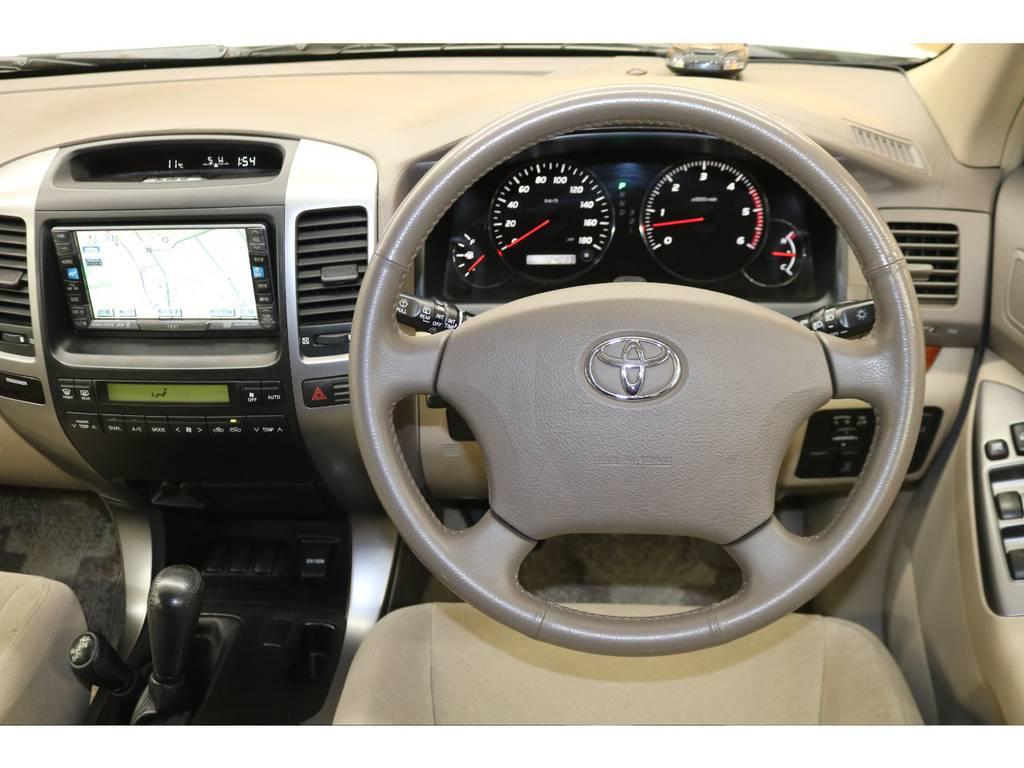 純正ハンドルの状態も良好です♪ | トヨタ ランドクルーザープラド 3.0 TXリミテッド ディーゼルターボ 4WD