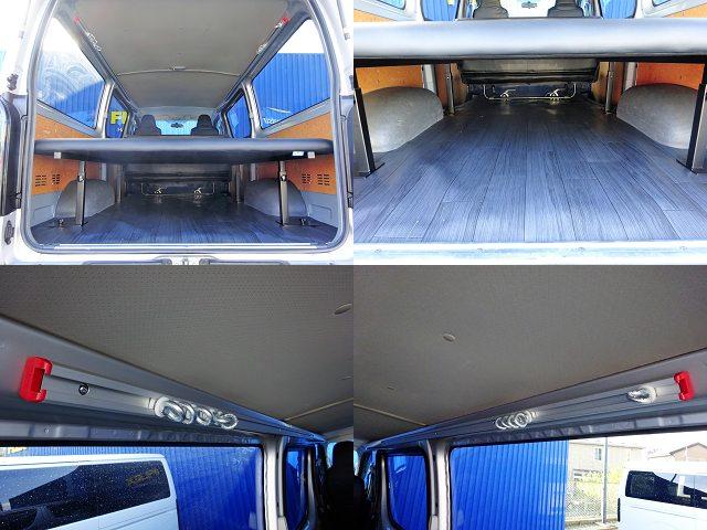 新品フレックスオリジナルベットキット、床には新品CFカーゴマット、天井には新品ガレージバー☆ | トヨタ ハイエースバン 2.0 DX ロング GLパッケージ WORK STYLE