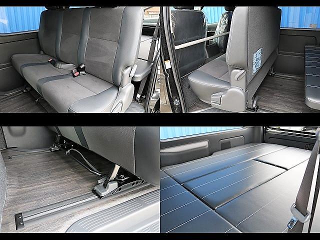 セカンドシートはオプションのスライドレール搭載!!足元スペースも自由に確保☆ | トヨタ ハイエースバン 2.8 スーパーGL ロング ディーゼルターボ ダークP TSS付アレンジFU