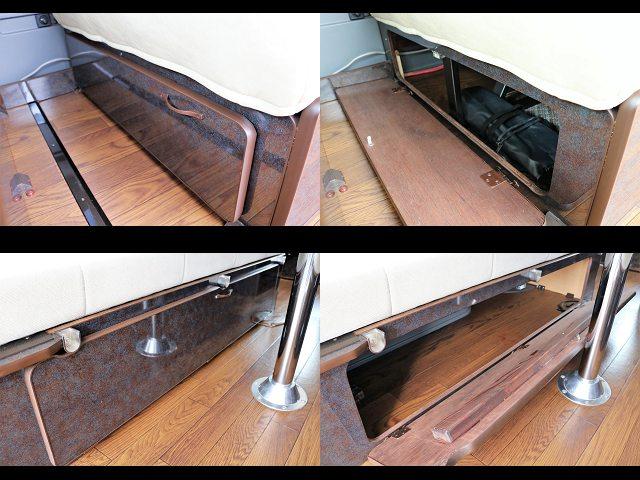 家具の下には収納スペースが多数あり!! | トヨタ ハイエース 2.7 GL ロング ミドルルーフ ネイビー【CoastLines】