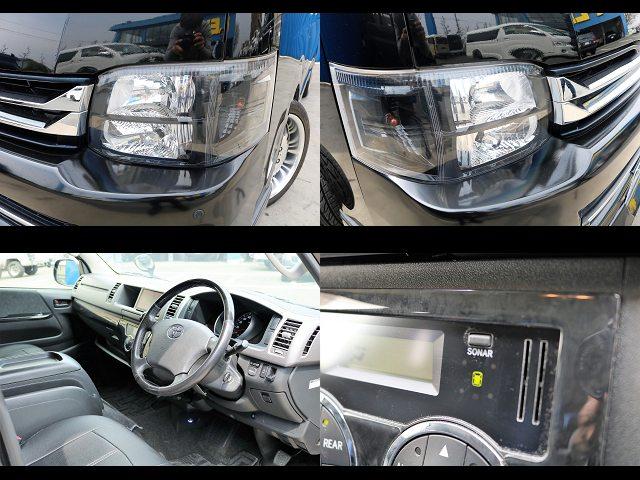 インナーブラックヘッドライト、ガングリップ黒木目ハンドル、コーナーセンサー(ソナー)搭載☆ | トヨタ ハイエース 2.7 GL ロング ミドルルーフ 【買取直販】3型ワゴン