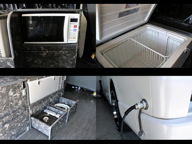 電子レンジ、冷蔵庫、コンロ、外部充電電源、引き出しも多数あり☆