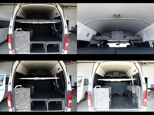 2段ベット、跳ね上げ式、ルーフに棚も☆ | トヨタ レジアスエース 2.7 DX ワイド ハイルーフ スーパーロングボディ GLパッケージ 4WD キャンピングカー