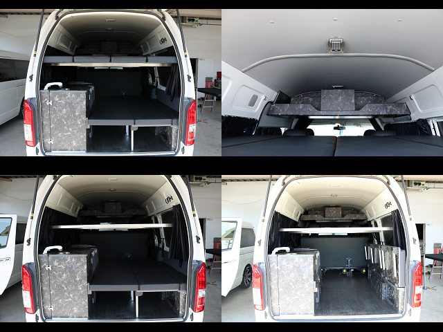 2段ベット、跳ね上げ式、ルーフに棚も☆ | トヨタ レジアスエース 2.7 DX ワイド ハイルーフ スーパーロングボディ GLパッケージ 4WD 前田制作キャンピングカー