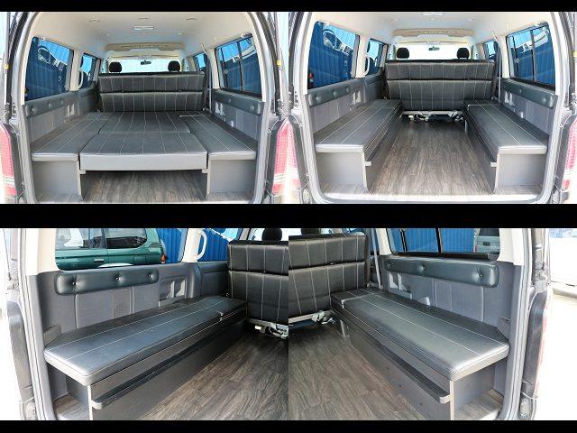 二の字ベットキット仕様☆ | トヨタ ハイエース 2.7 GL ロング ミドルルーフ 内装架装二の字ベット