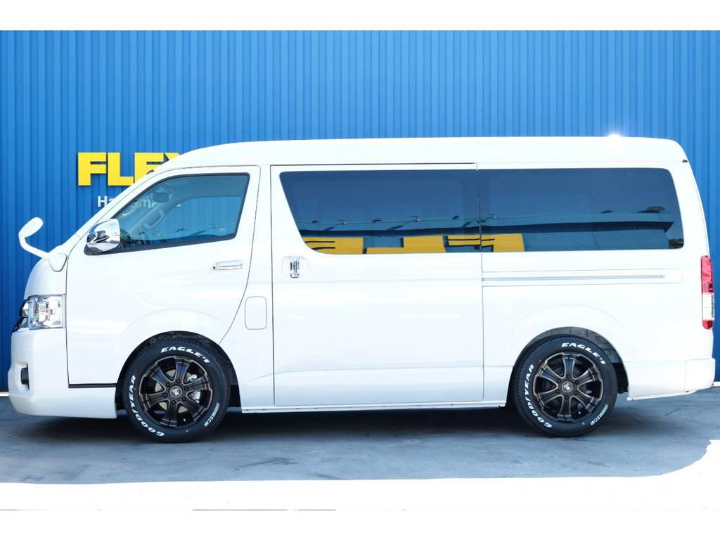 2インチローダウン、フレックスオリジナルW-DEEPSホイール☆ | トヨタ ハイエース 2.7 GL ロング ミドルルーフ TSS付フレックスオリジナルアレンジAS
