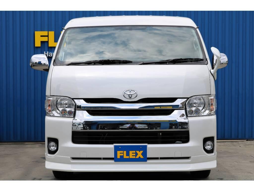 4WD、ファインテックツアラー☆1.5インチローダウン施工、フレックスDelfinoLineスポイラー装着☆