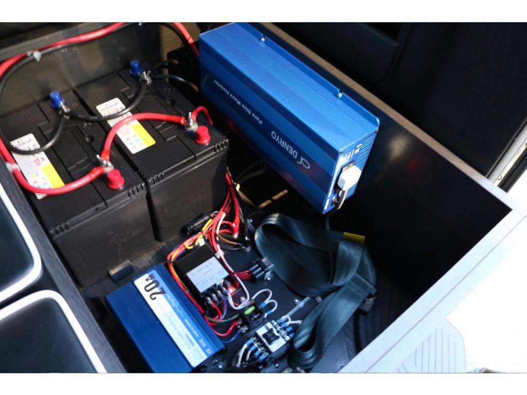 電菱正弥波1500Wインバーター・追加サブバッテリー105Ah これも最初からあるのは嬉しい装備です♪