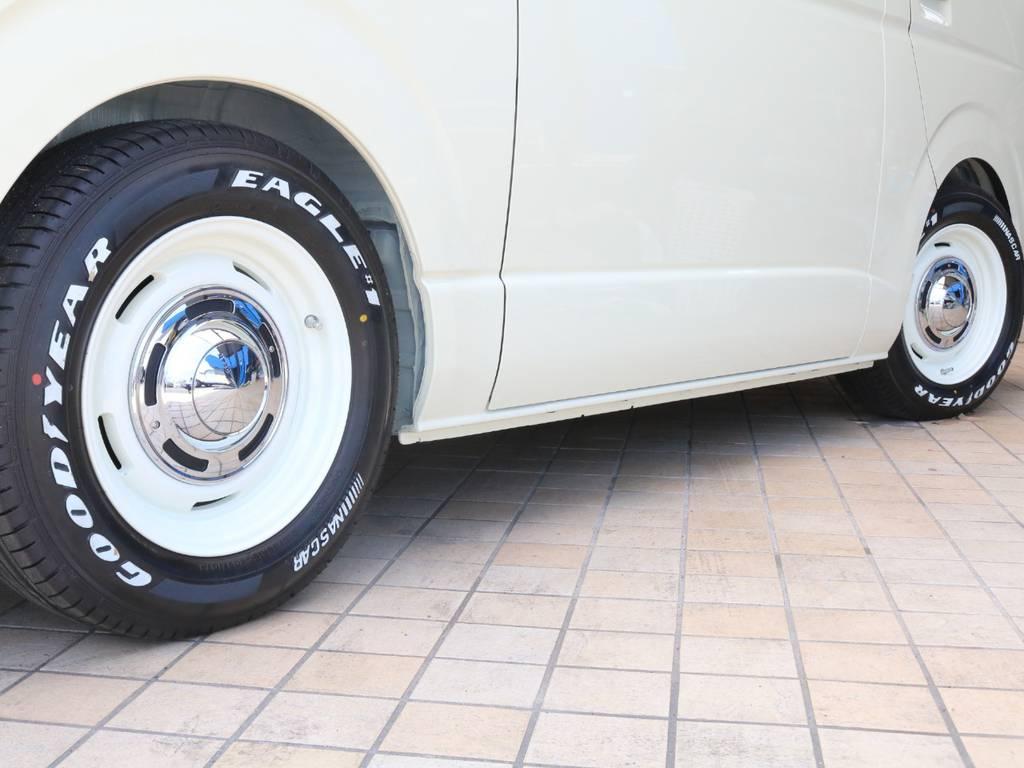 ボディーカラー&フェイスに合ったクリムソン製DEANクロスカントリー16インチAW&ナスカータイヤ♪ | トヨタ ハイエースバン 2.8 スーパーGL ワイド ロング ミドルルーフ ディーゼルターボ Renoca試乗車