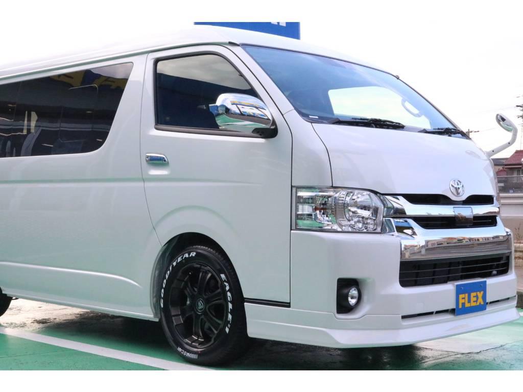 FLEX Delfinoフロントスポイラー♪   トヨタ ハイエース 2.7 GL ロング ミドルルーフ 4WD TSS寒冷地付アレンジAS