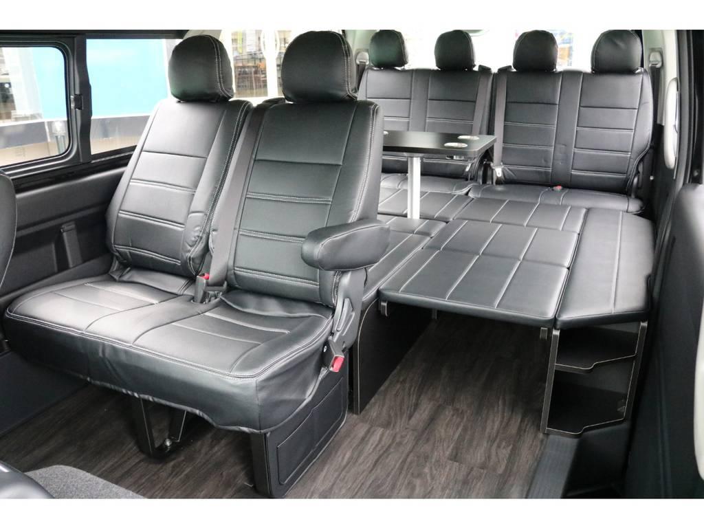 ベッドキッド・テーブル・フローリング加工♪ | トヨタ ハイエース 2.7 GL ロング ミドルルーフ 4WD TSS寒冷地付アレンジR1