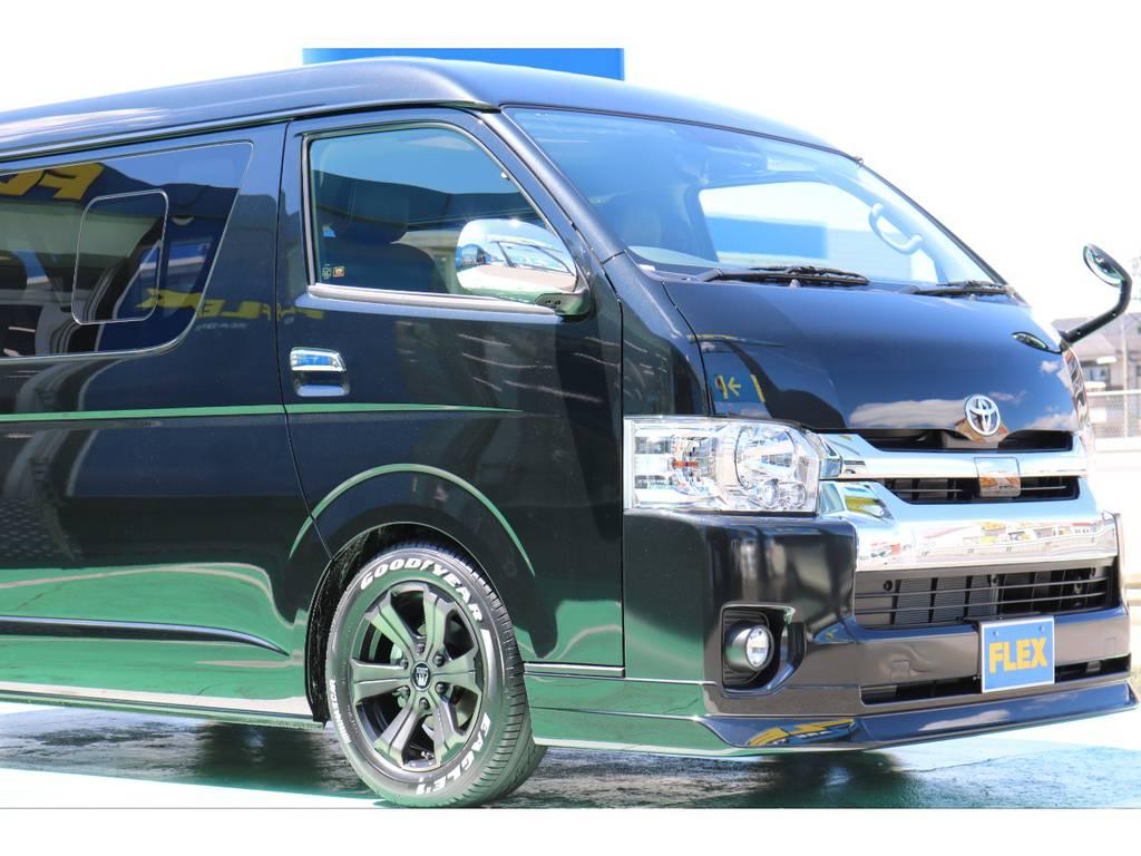 FLEXオリジナルフロントリップスポイラー装着済み♪ | トヨタ ハイエース 2.7 GL ロング ミドルルーフ