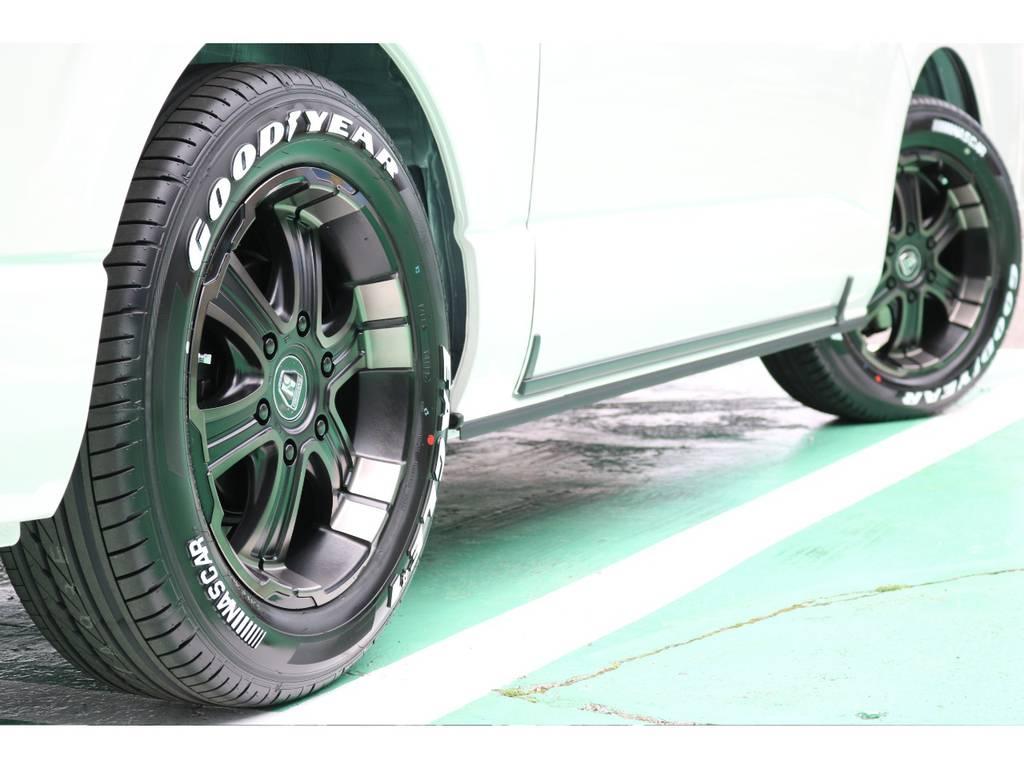 タイヤはグッドイヤーのナスカータイヤをチョイス! | トヨタ ハイエースバン 2.8 スーパーGL ダークプライムⅡ ロングボディ ディーゼルターボ 4WD