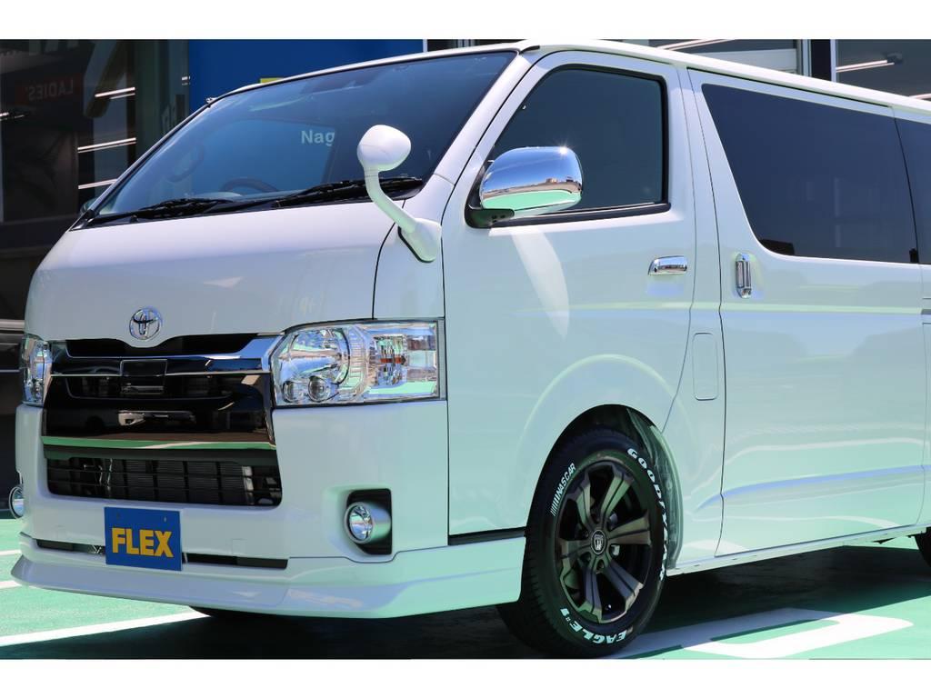 FLEX Delfinoフロントスポイラー♪   トヨタ ハイエースバン 2.0 スーパーGL 50TH アニバーサリー リミテッド ロングボディ 50TH
