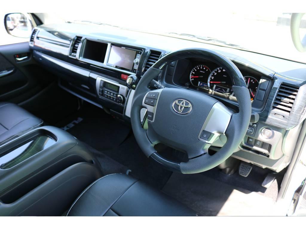 ステアリングも変えてありますので、とても握りやすいです♪ | トヨタ ハイエース 2.7 GL ロング ミドルルーフ 4WD TSS付