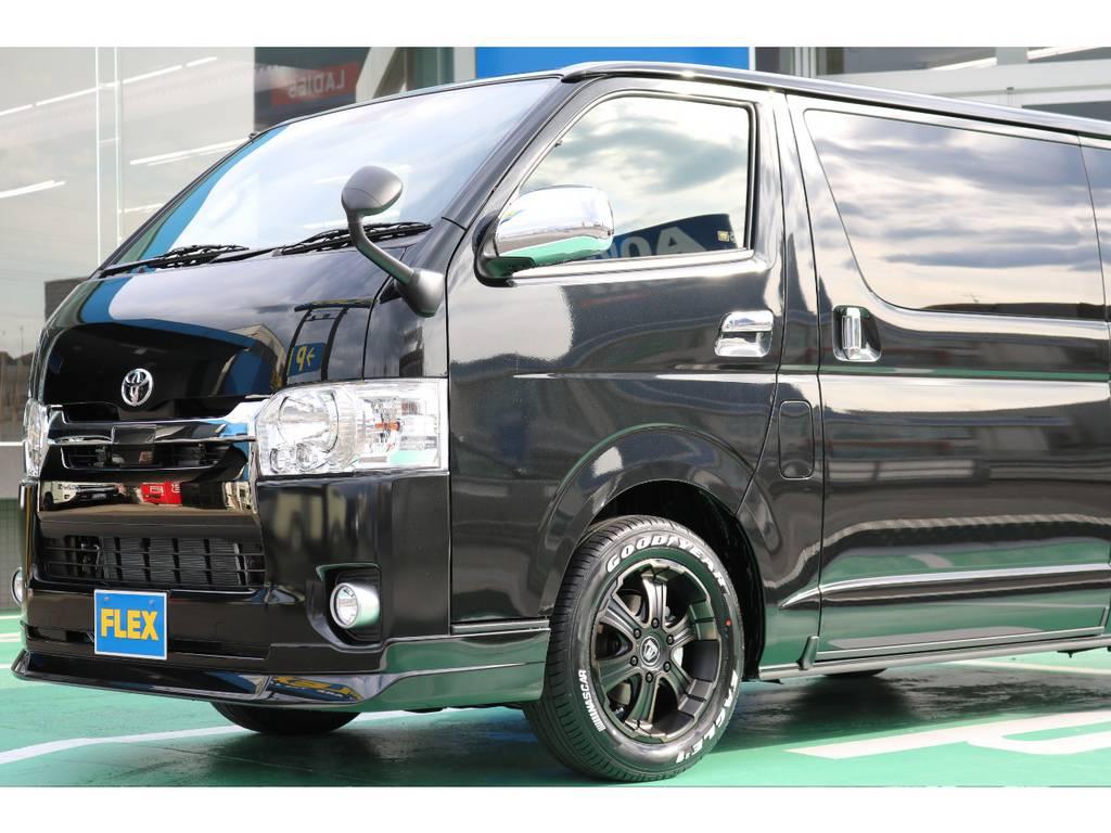 FLEX Delfinoフロントスポイラー♪ | トヨタ ハイエースバン 2.8 スーパーGL 50TH アニバーサリー リミテッド ロングボディ ディーゼルターボ 4WD 50TH