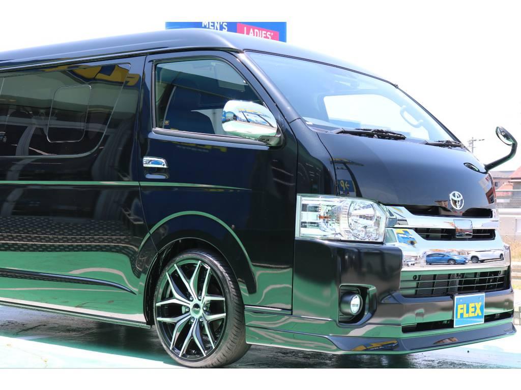 FLEXオリジナルフロントリップスポイラー装着済み♪ | トヨタ ハイエース 2.7 GL ロング ミドルルーフ TSS付 Ver.2内装仮装
