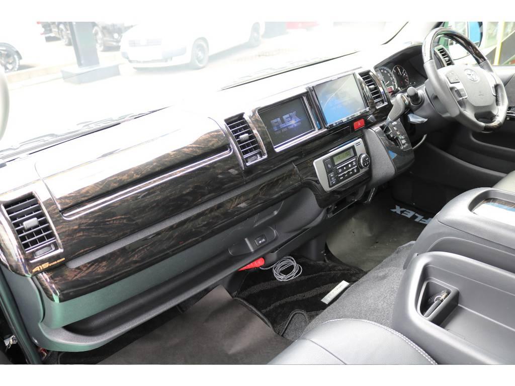 インテリアパネルやシートカバー等、内装も充分にカスタムされております!   トヨタ ハイエース 2.7 GL ロング ミドルルーフ 4WD FLEXカスタム下取り直販