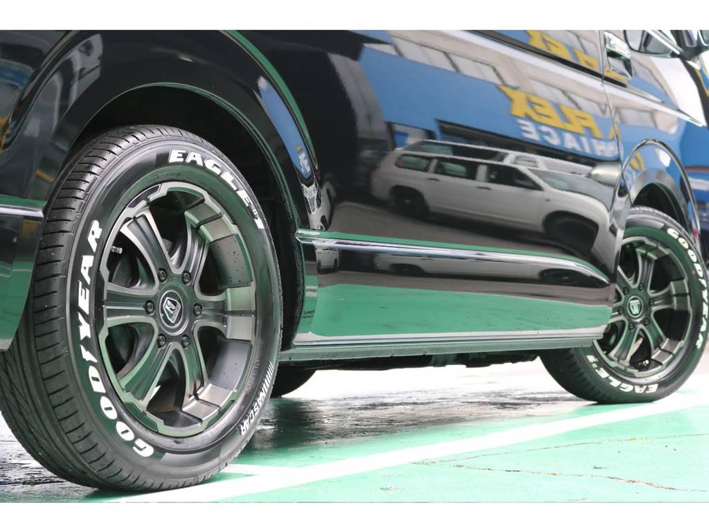 タイヤの山も充分残っておりますのでご安心下さい!   トヨタ ハイエース 2.7 GL ロング ミドルルーフ 4WD FLEXカスタム下取り直販