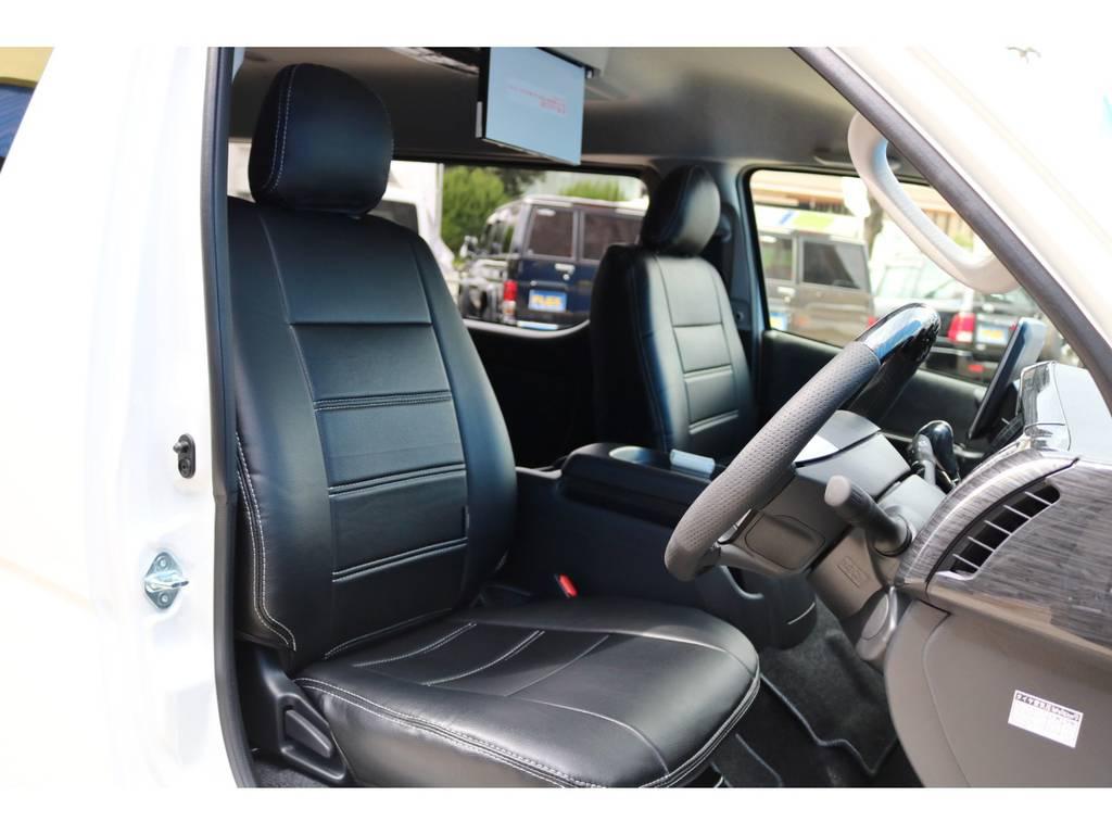 ブラックレザー調シートカバー完備! | トヨタ ハイエース 2.7 GL ロング ミドルルーフ TSS付 アルパインパッケージ