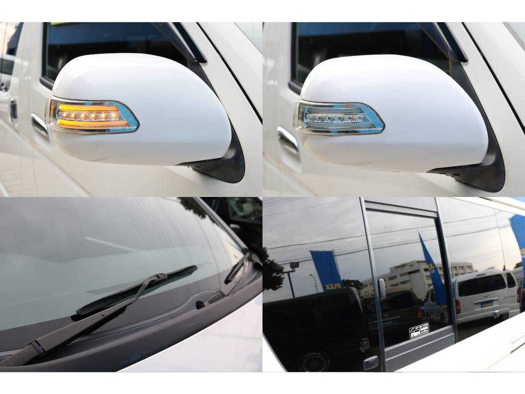 ウィンカーミラー・社外ワイパーカウル・スライドガラス周りはカーボン調でオシャレに♪ | トヨタ ハイエースバン 2.0 スーパーGL ロング 4型フェイスチェンジ
