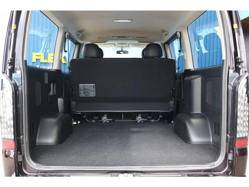広々としたラゲッジスペース!お仕事にはもちろん、ベッドキットを取り付けて車中泊やフィッシング、トランポにもおすすめです!!