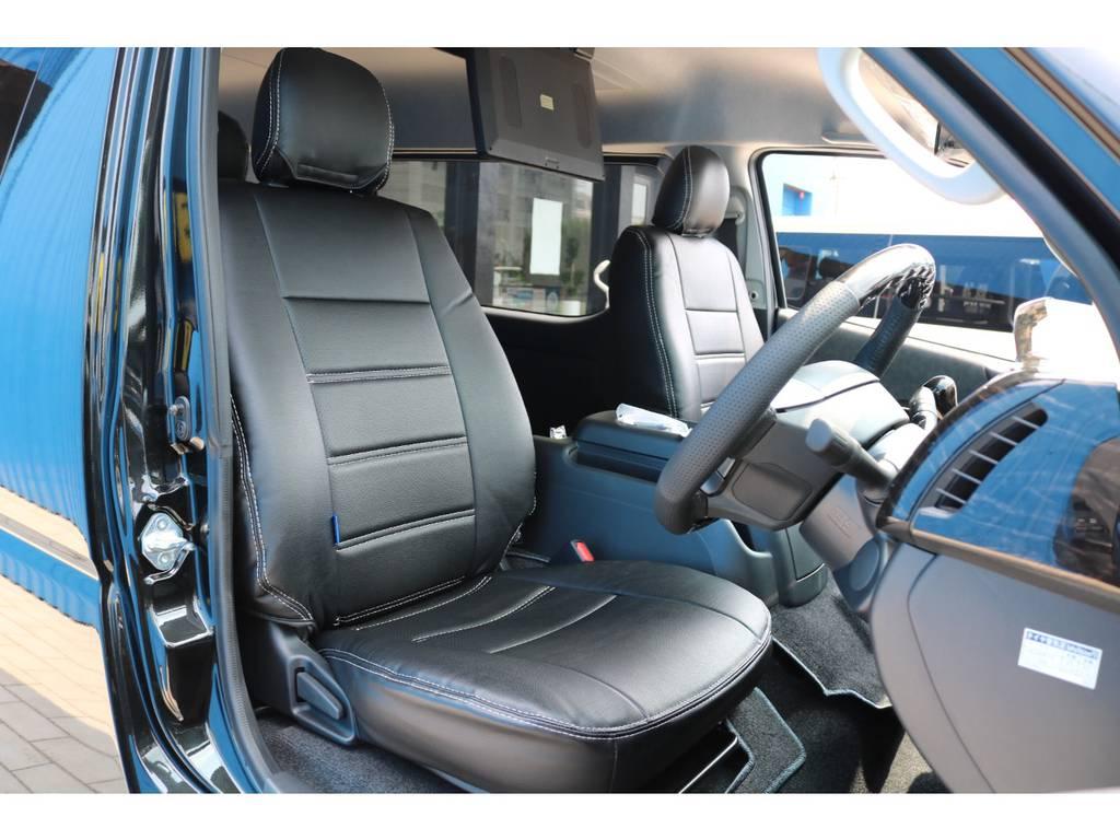 全席 ブラックレザー調シートカバー! | トヨタ ハイエース 2.7 GL ロング ミドルルーフ TSS付 New Ver1