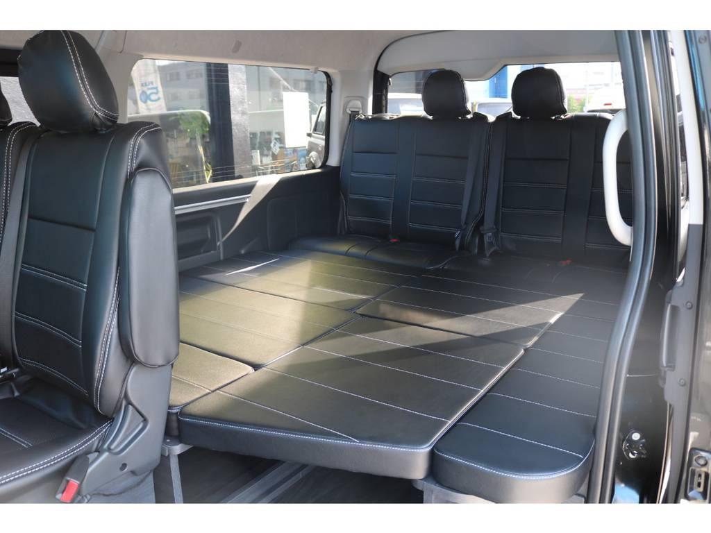 ベッドモード 大人でもゆっくり横になれます。 | トヨタ ハイエース 2.7 GL ロング ミドルルーフ TSS付 New Ver1